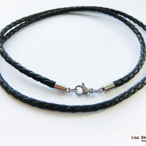 Кожаный гайтан на шею черный 4 мм со стальным карабином под серебро
