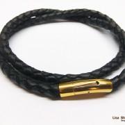 Толстый кожаный шнурок для крестика черный 6 мм с прочной застежкой под золото