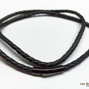 Кожаный гайтан на шею 5 мм с прочной черной застежкой
