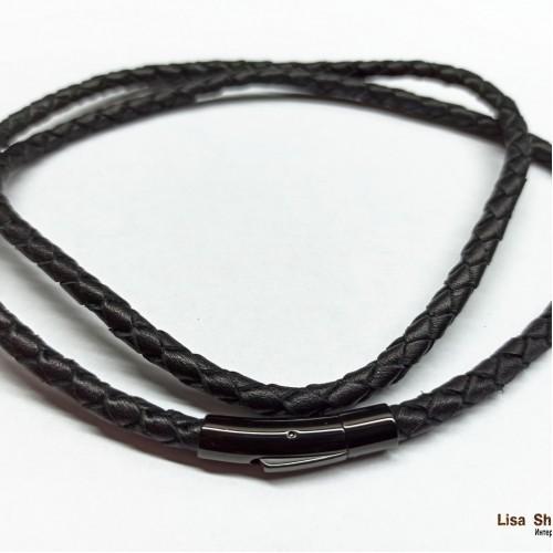 Кожаный шнурок для крестика 5 мм с прочной черной застежкой