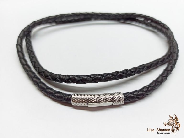 Кожаный шнурок на шею 5 мм с прочной рифленой застежкой