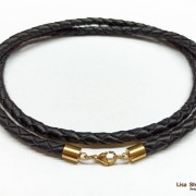 Толстый кожаный шнурок для крестика черный 6 мм со стальным карабином под золото