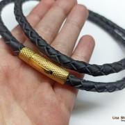 Толстый кожаный шнурок 6 мм с прочной рифленой застежкой под золото