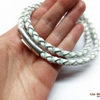 Кожаный шнурок для крестика белый 6 мм