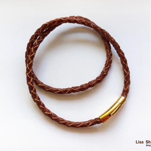 Коричневый кожаный гайтан 5 мм