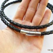 Кожаный шнурок для крестика черный 5 мм с прочной застежкой под серебро